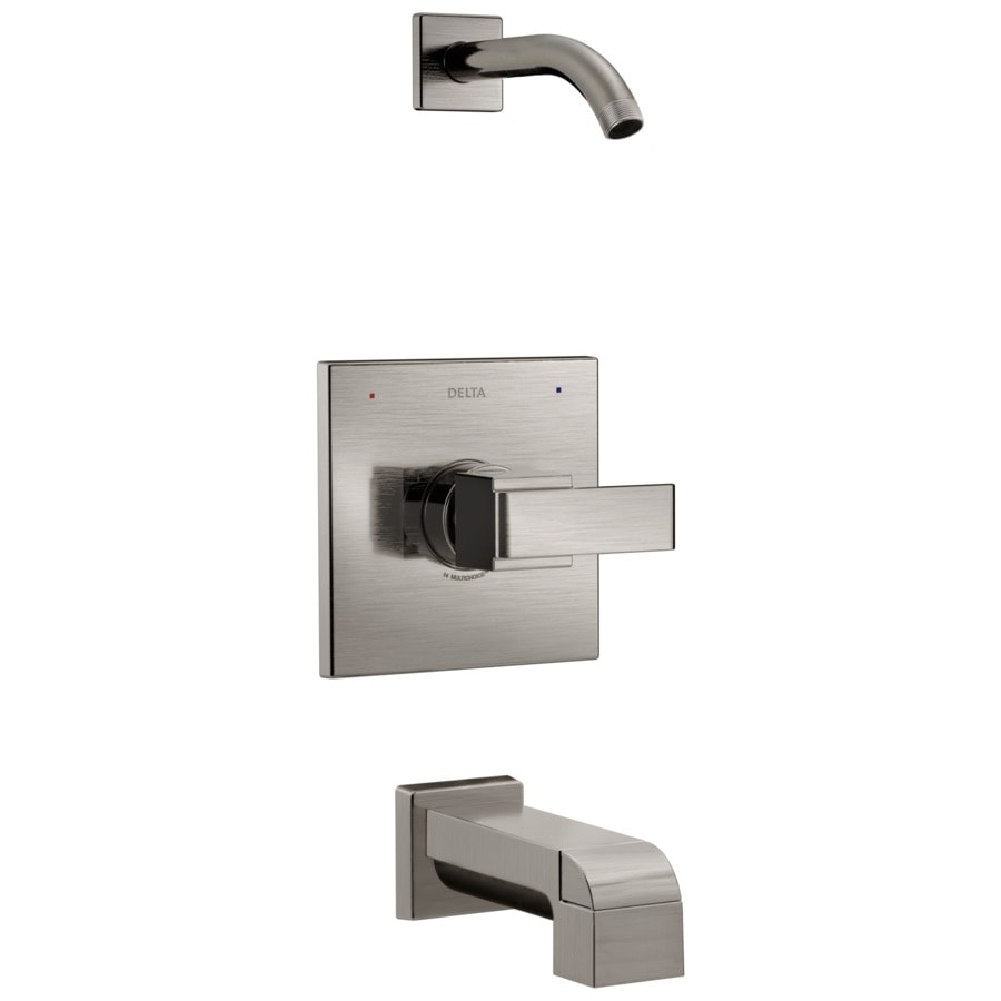 Delta Ara Stainless 1-Handle Bathtub and Shower Faucet Trim Kit with Sold Separately Showerhead