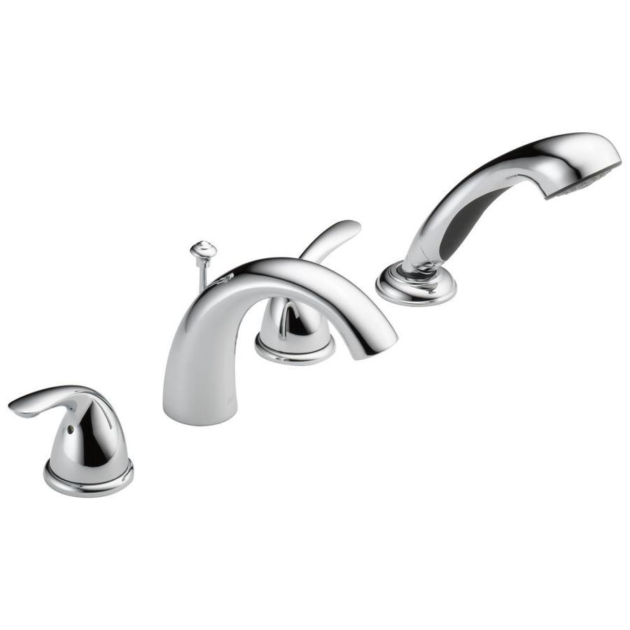 Delta Chrome 2 Handle Deck Mount Bathtub Faucet