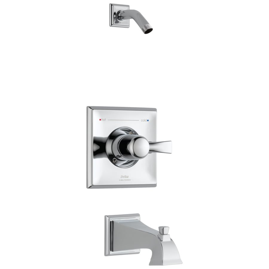 Delta Dryden Chrome 1-Handle Bathtub and Shower Faucet Trim Kit with Sold Separately Showerhead