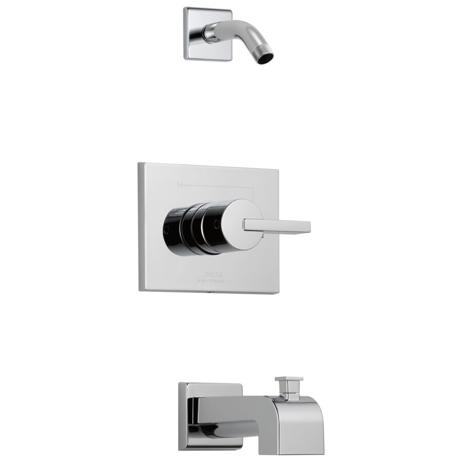 Delta Vero Chrome 1-Handle Bathtub and Shower Faucet Trim Kit with Sold Separately Showerhead