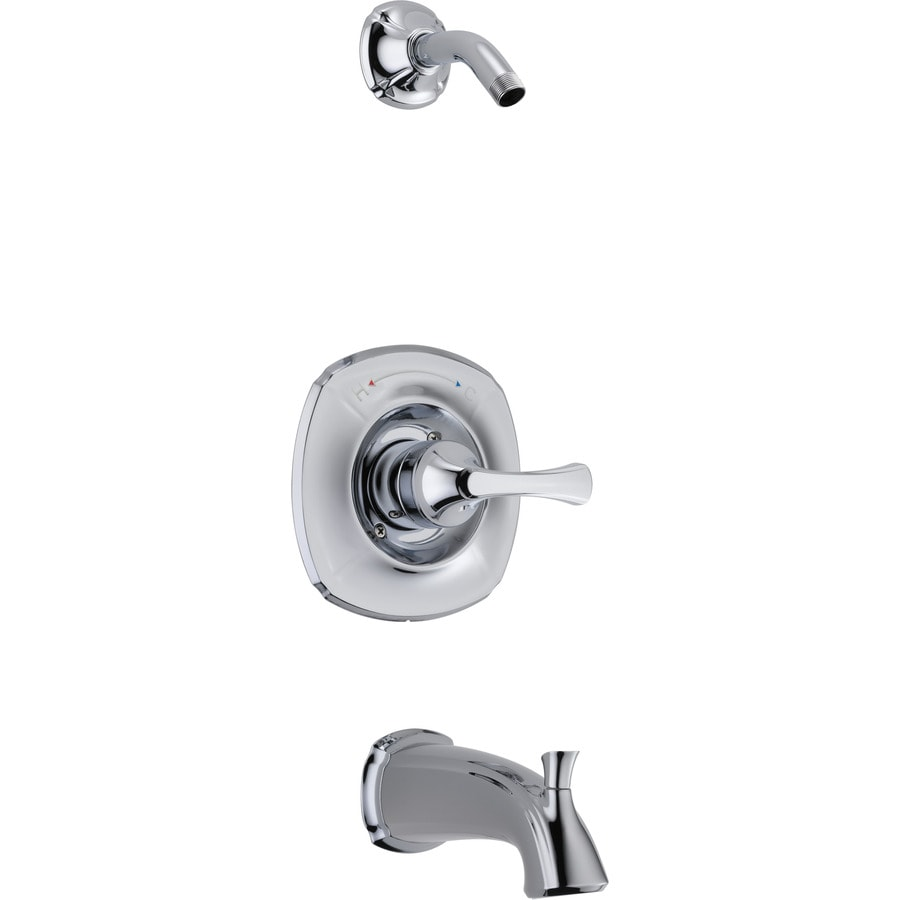 Delta Addison Chrome 1-Handle Bathtub and Shower Faucet Trim Kit with Sold Separately Showerhead