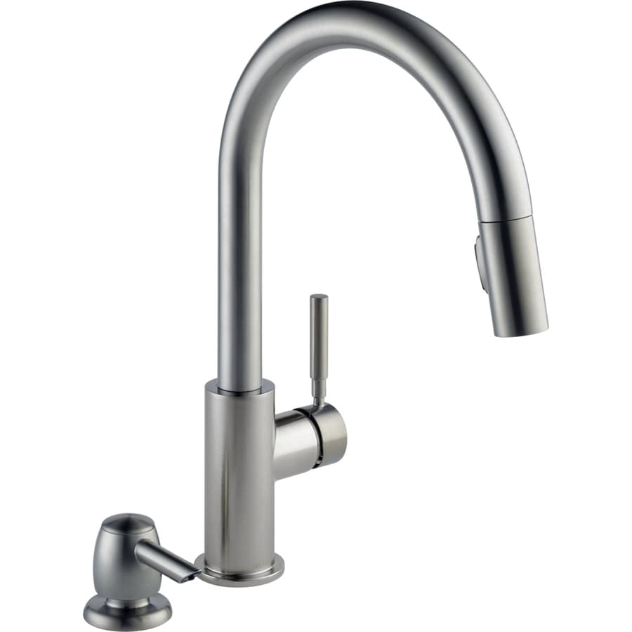 Shop Delta Trask Stainless Steel Handle Pulldown Deck Mount - Lowes kitchen faucets on sale