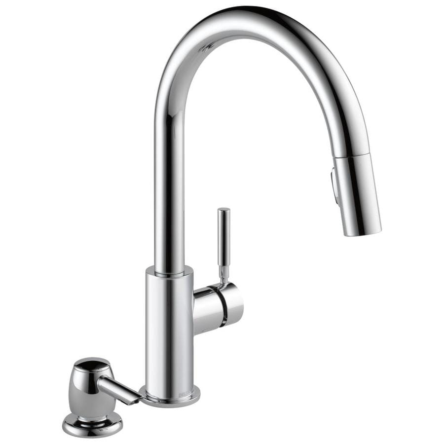 Delta Chrome Kitchen Faucets Shop Delta Trask Chrome 1 Handle Pull Down Kitchen Faucet At Lowescom