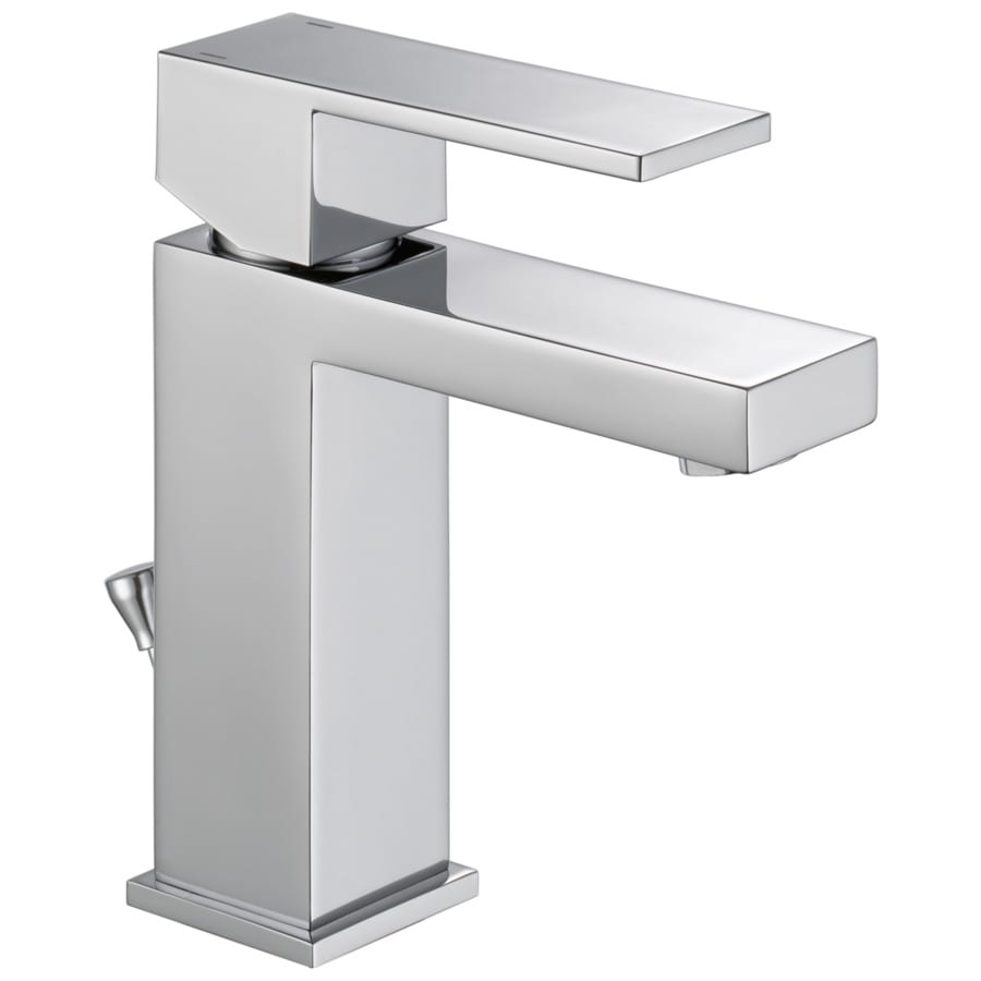 Shop Delta Modern Chrome 1-Handle 4-in Centerset WaterSense Bathroom Faucet (Drain Included) At