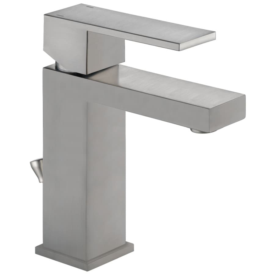 Delta Modern Stainless 1-Handle Single Hole/4-in Centerset Bathroom Sink Faucet