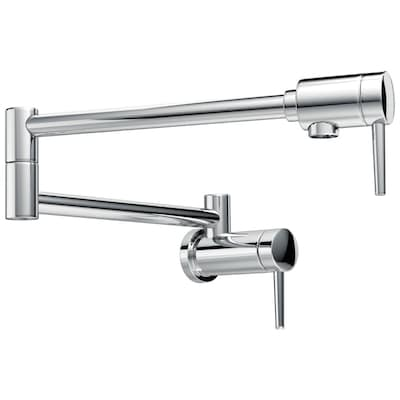 Chrome 2-handle Wall Mount Pot Filler Kitchen Faucet
