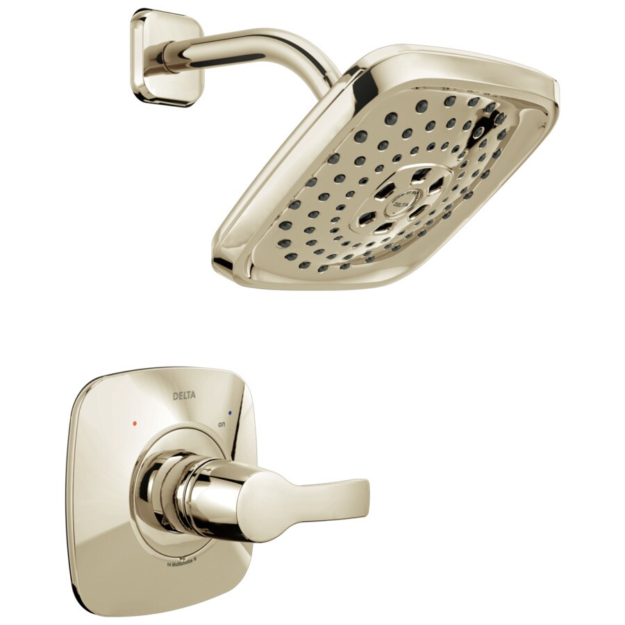 Delta Tesla Polished Nickel 1-Handle WaterSense Shower Faucet Trim Kit with Multi-Function Showerhead