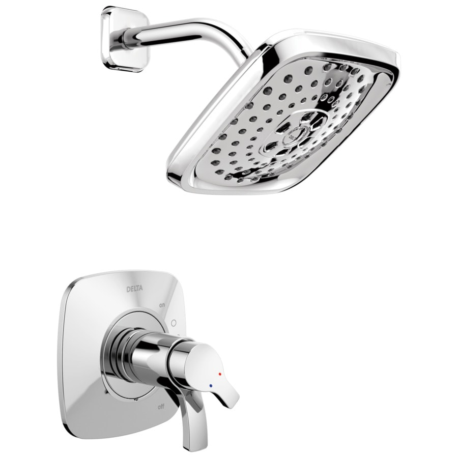 Delta Tesla Chrome 2-Handle WaterSense Shower Faucet Trim Kit with Multi-Function Showerhead