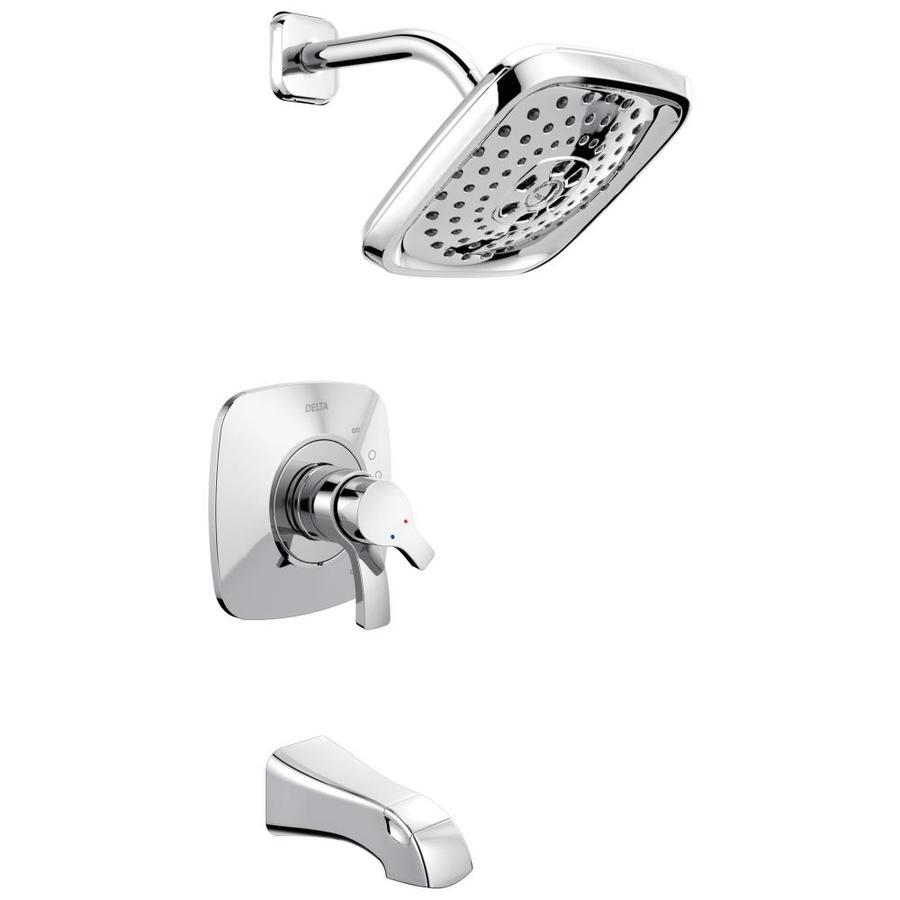 Delta Tesla Chrome 2-Handle WaterSense Bathtub and Shower Faucet Trim Kit with Multi-Function Showerhead