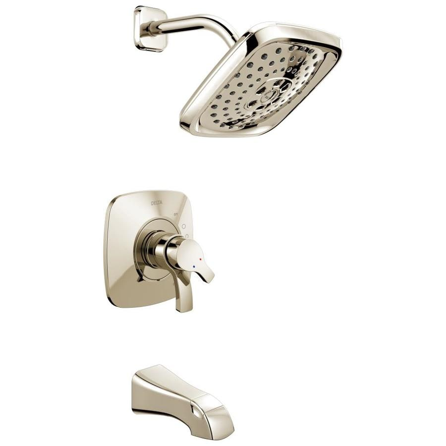 Delta Tesla Polished Nickel 2-Handle WaterSense Bathtub and Shower Faucet Trim Kit with Multi-Function Showerhead