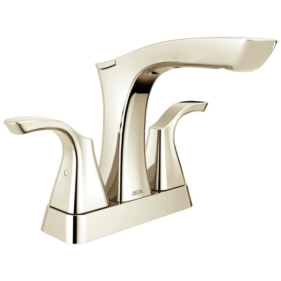 Delta Tesla Polished Nickel 2-Handle 4-in Centerset WaterSense Bathroom Faucet (Drain Included)