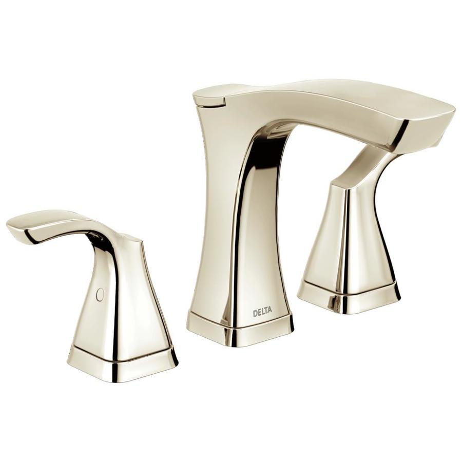 Delta Tesla Polished Nickel 2-Handle 4-in Centerset WaterSense Bathroom Faucet (Drain Included)