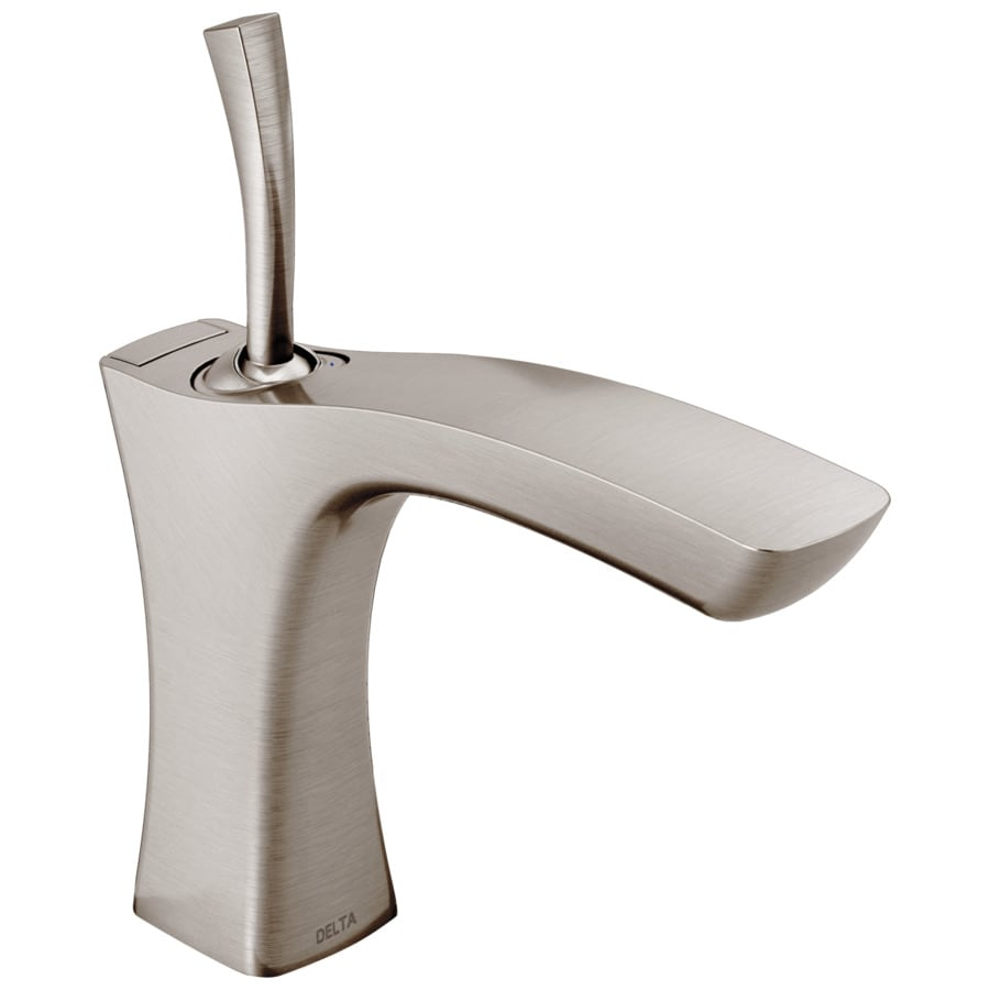 Delta Tesla Stainless 1-Handle 4-in Centerset WaterSense Bathroom Faucet (Drain Included)