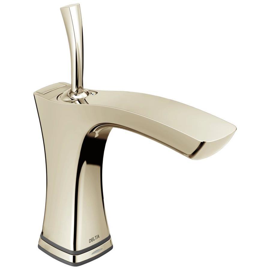 Delta Tesla Polished Nickel 1-Handle 4-in Centerset WaterSense Bathroom Faucet (Drain Included)