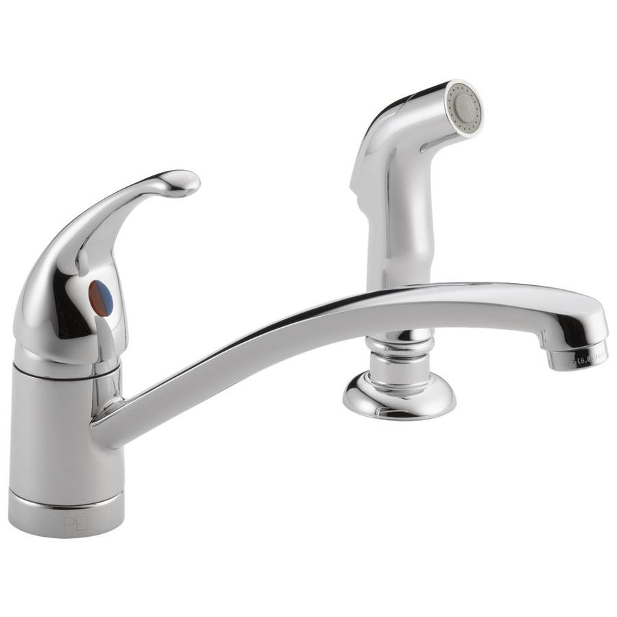 Peerless Choice Chrome 1-Handle Low-Arc Kitchen Faucet with Side Spray
