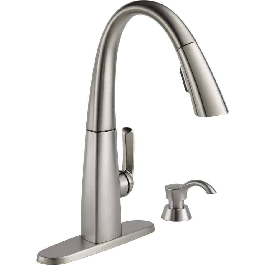 Delta Pull Down Kitchen Faucet shop delta arc spotshield stainless 1-handle deck mount pull-down