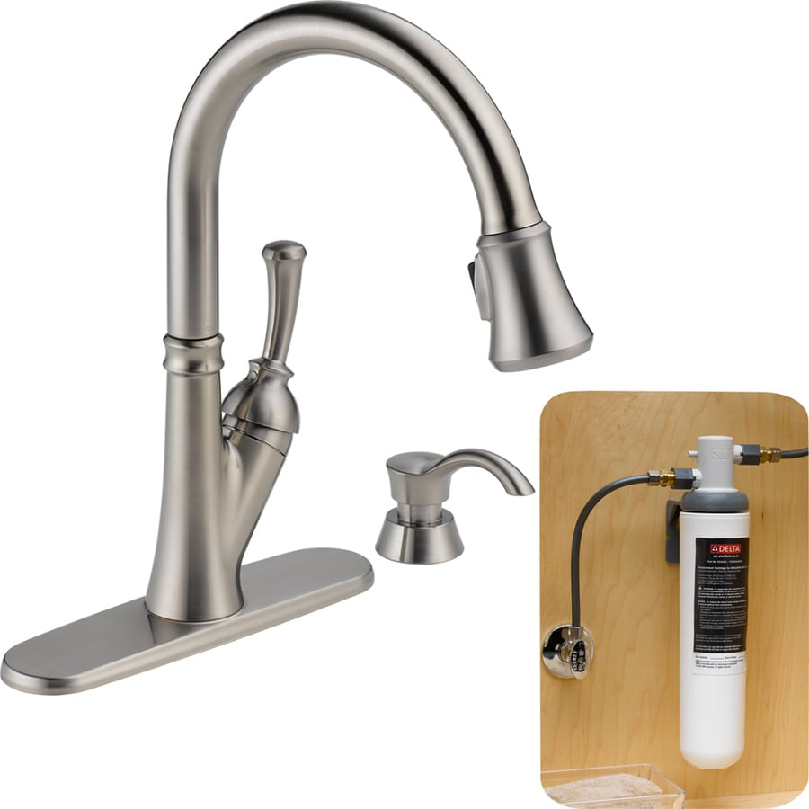 water filter for pull down faucet. Delta Savile With Filtration Stainless 1 Handle Pull Down Deck Mount  Kitchen Faucet Water Drop Shop