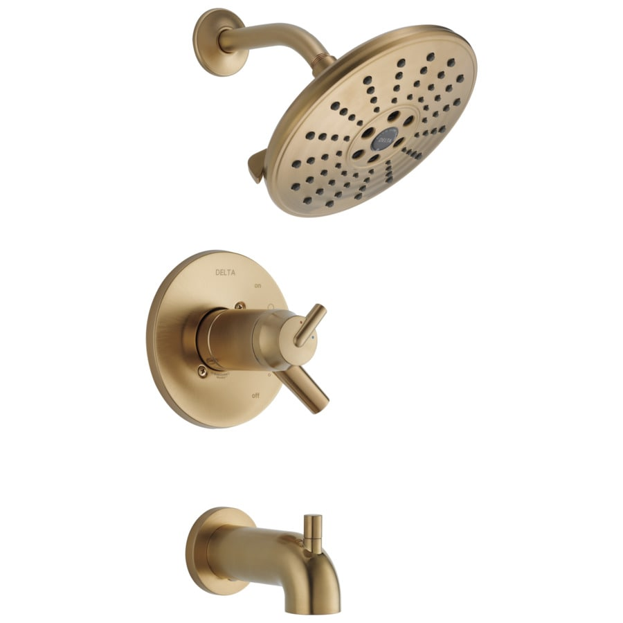 Delta Trinsic Champagne Bronze 2-Handle WaterSense Bathtub and Shower Faucet Trim Kit with Single Function Showerhead