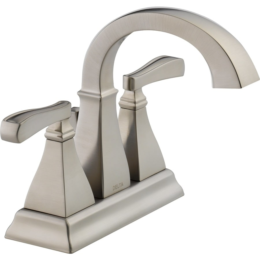 Shop delta olmsted spotshield brushed nickel 2 handle 4 in for Bathroom faucets lowes