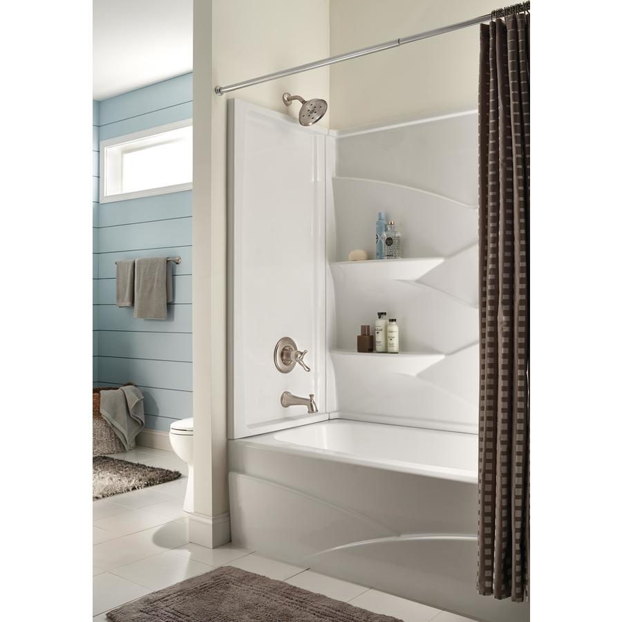 Shop Delta Laurel High Gloss White Acrylic Bathtub Wall Surround Common 32