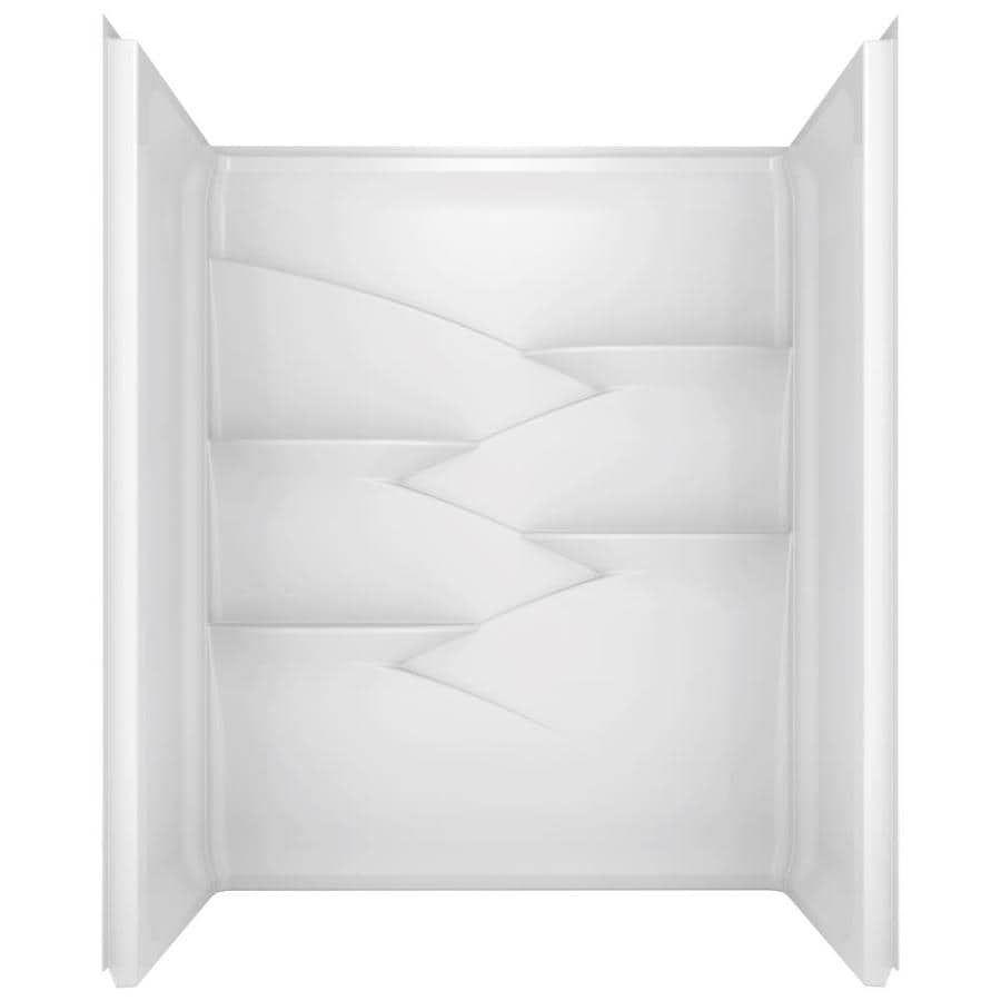 Delta Laurel High Gloss White Shower Wall Surround Side And Back Kit Common
