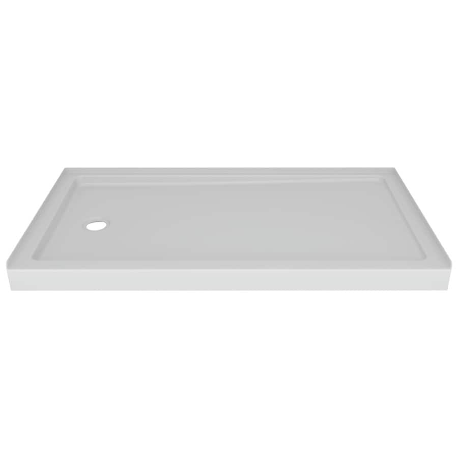 Delta Laurel High Gloss White Acrylic Shower Base (Common: 60-in W x 32-in L; Actual: 59.875-in W x 30.75-in L)