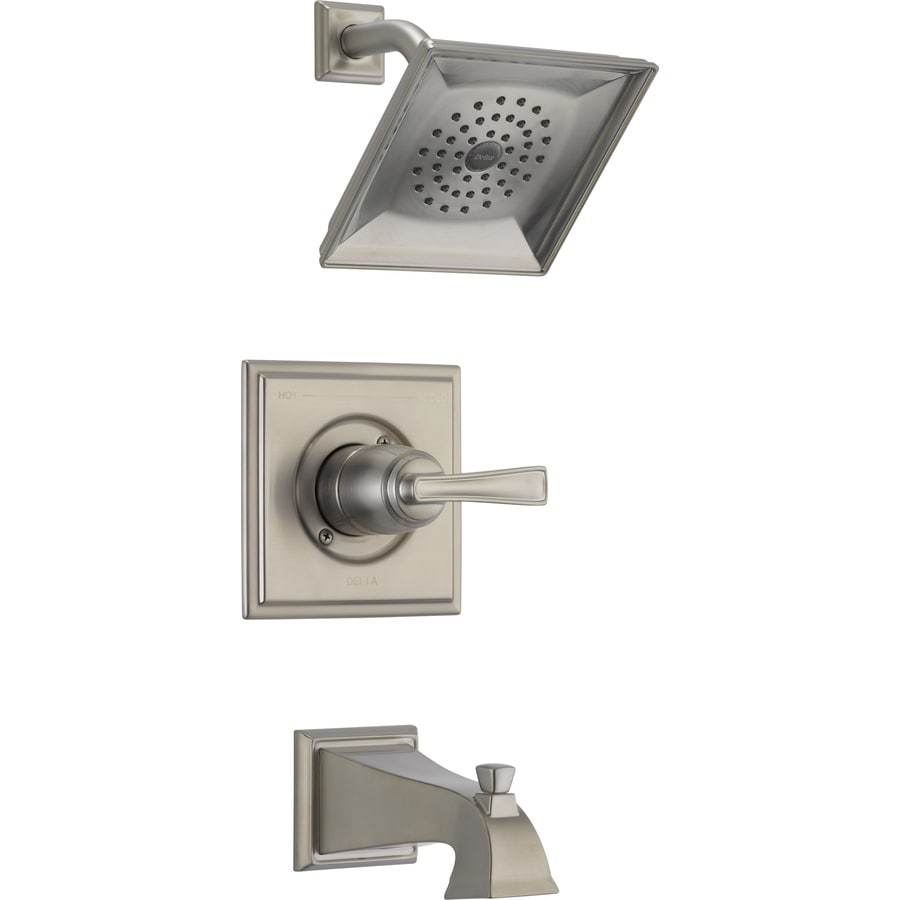 Shop Delta Olmsted Spotshield Brushed Nickel 1 Handle Watersense Tub And Shower Faucet With