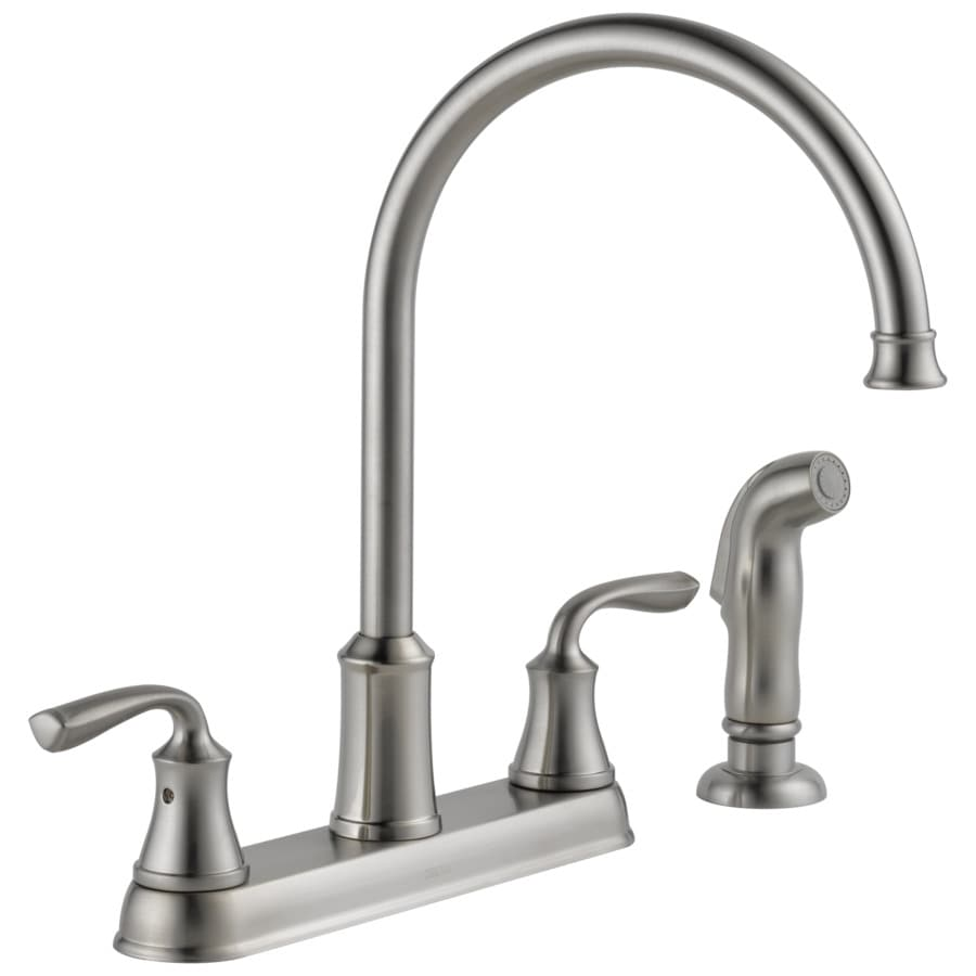 Shop delta lorain stainless 2 handle deck mount high arc - Lowes kitchen sink faucet ...