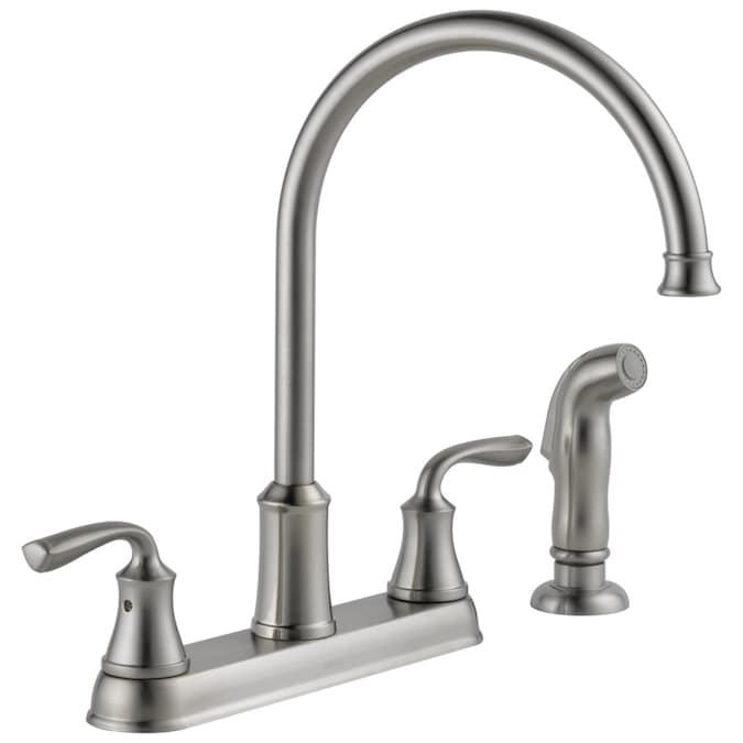 Delta Lorain Stainless 2 Handle Deck Mount High Arc Handle Kitchen Faucet Deck Plate Included In The Kitchen Faucets Department At Lowes Com