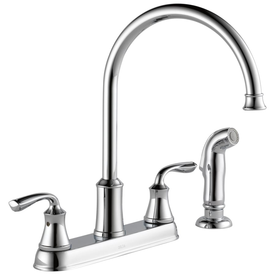 Delta Lorain Chrome 2 Handle Deck Mount High Arc Kitchen Faucet