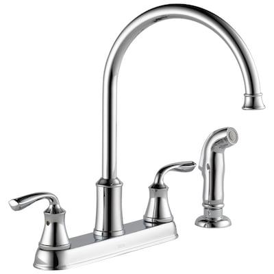 Lorain Chrome 2 Handle Deck Mount High Arc Kitchen Faucet