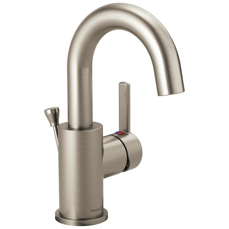 Peerless Apex Brushed Nickel 1-Handle 4-in Centerset WaterSense Bathroom Faucet (Drain Included)