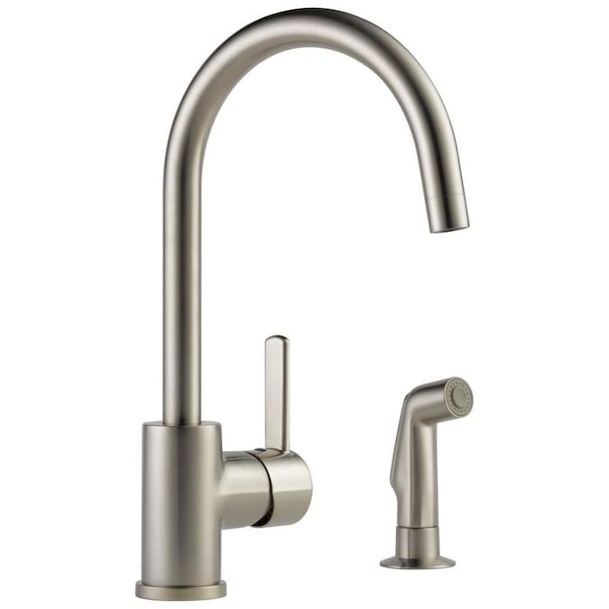 Peerless Precept Stainless 1 Handle Deck Mount High Arc Handle Kitchen Faucet Deck Plate Included In The Kitchen Faucets Department At Lowes Com