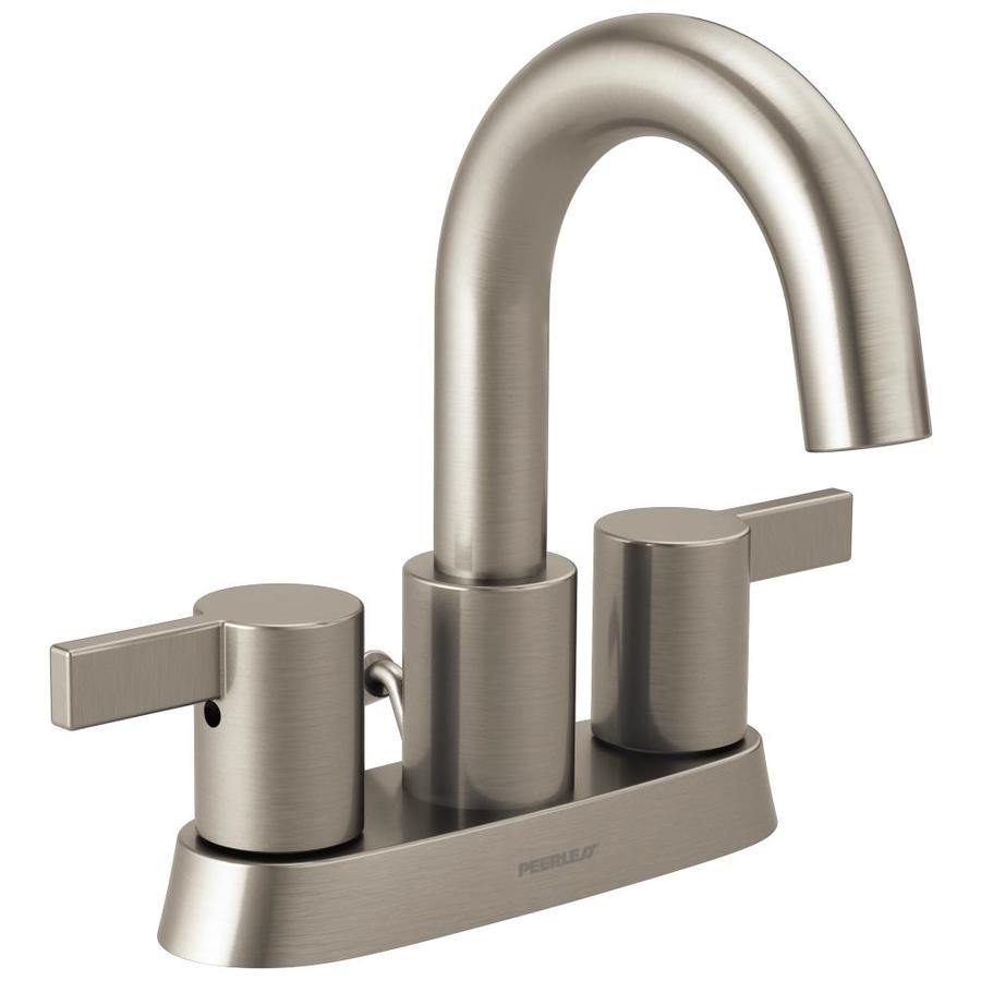 Peerless Apex Brushed Nickel 2-Handle 4-in Centerset WaterSense Bathroom Faucet (Drain Included)