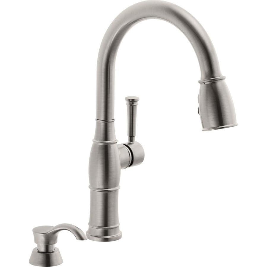 Delta White Kitchen Faucets Shop Delta Arc Spotshield Stainless 1 Handle Pull Down Kitchen