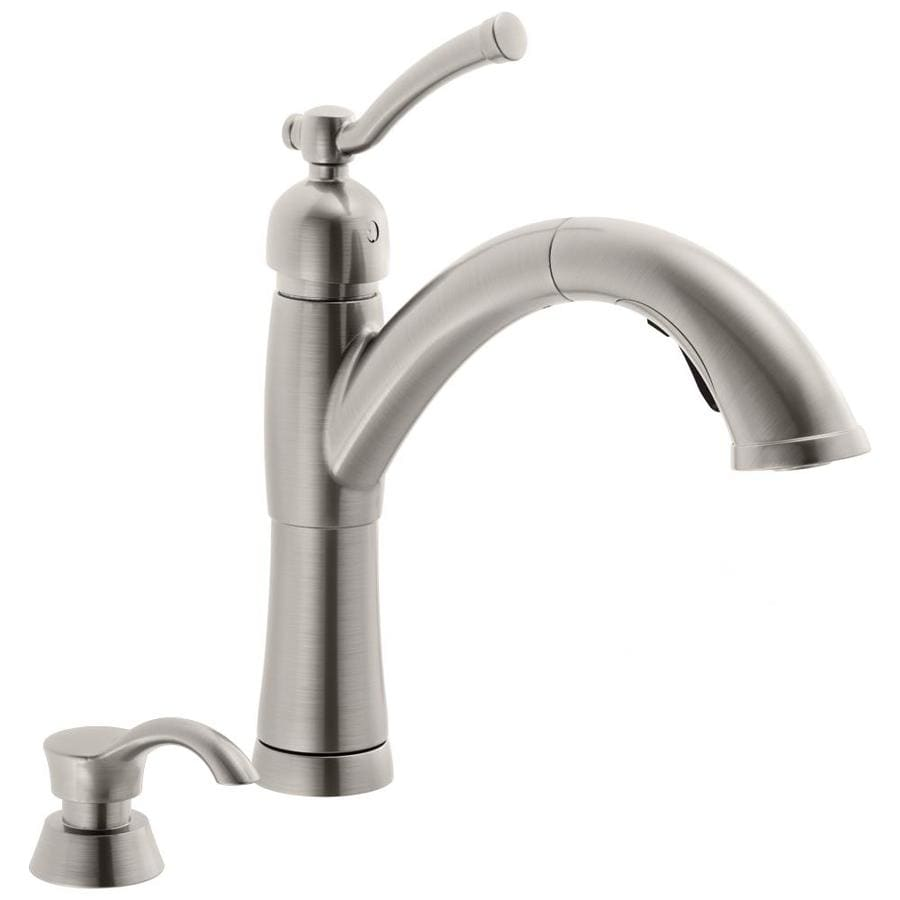 Kitchen Pull Out Faucet Shop Delta Valdosta Spotshield Stainless 1 Handle Pull Out Kitchen