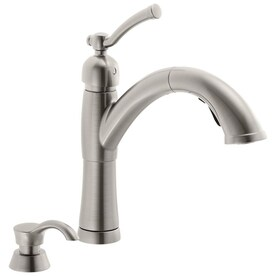 Delta Debonair Stainless 1 Handle Deck Mount Pull Out Handle Kitchen Faucet Deck Plate Included In The Kitchen Faucets Department At Lowes Com