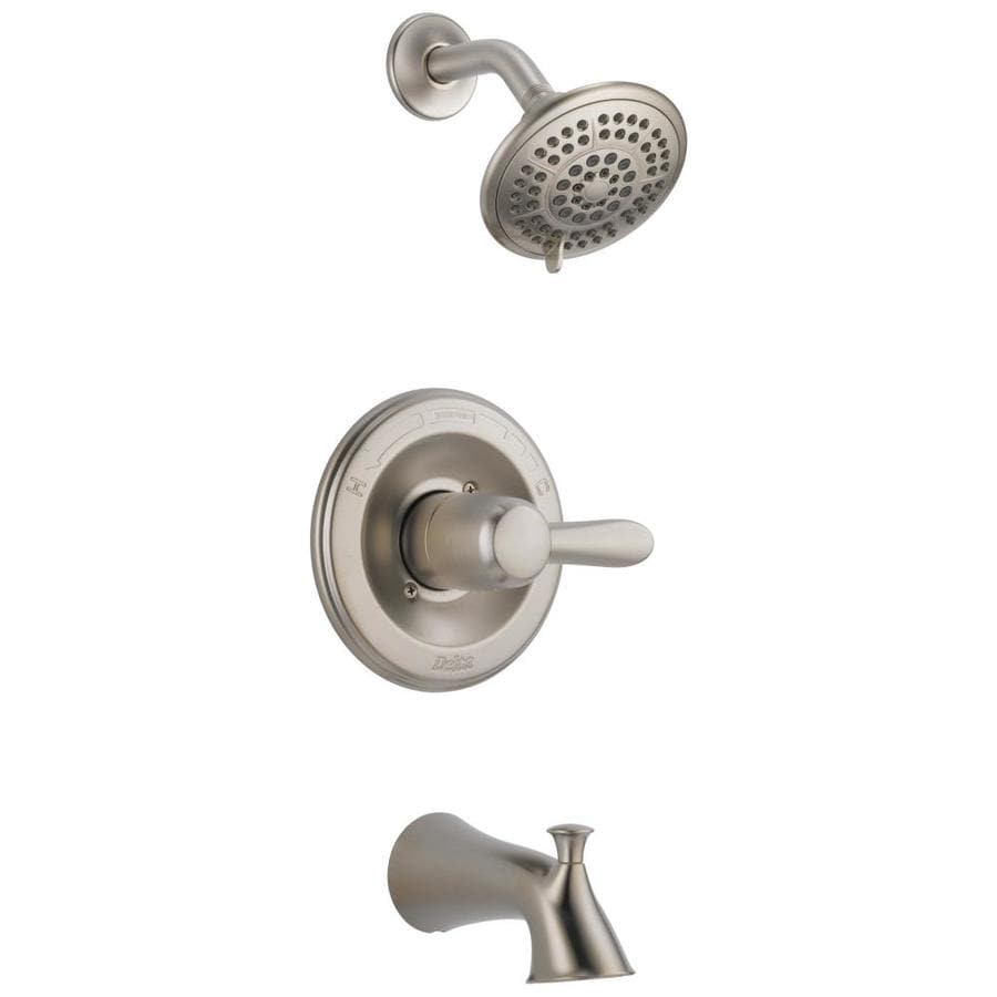 Delta Lahara Stainless 1-Handle WaterSense Bathtub and Shower Faucet Trim Kit with Single Function Showerhead