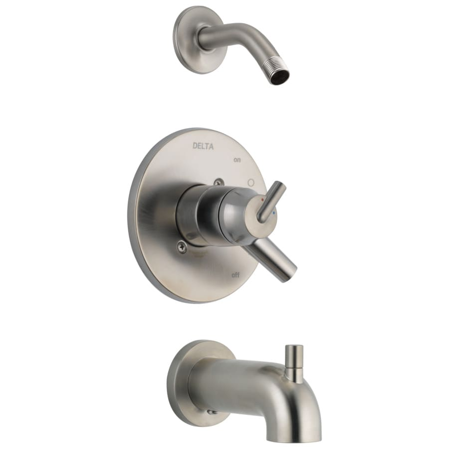 Delta Trinsic Stainless 1-Handle Bathtub and Shower Faucet Trim Kit with Sold Separately Showerhead