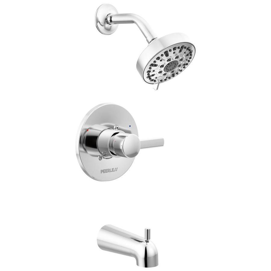 Peerless Apex Chrome 1-Handle WaterSense Bathtub and Shower Faucet Trim Kit with Single Function Showerhead