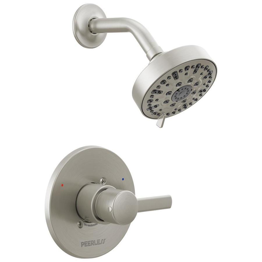 Peerless Apex Brushed Nickel 1-Handle WaterSense Shower Faucet Trim Kit with Single Function Showerhead