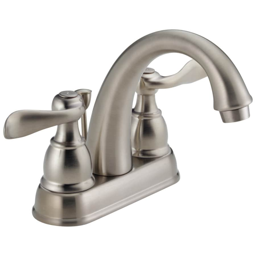 Shop delta windemere brushed nickel 2 handle 4 in for Bathroom sink faucets