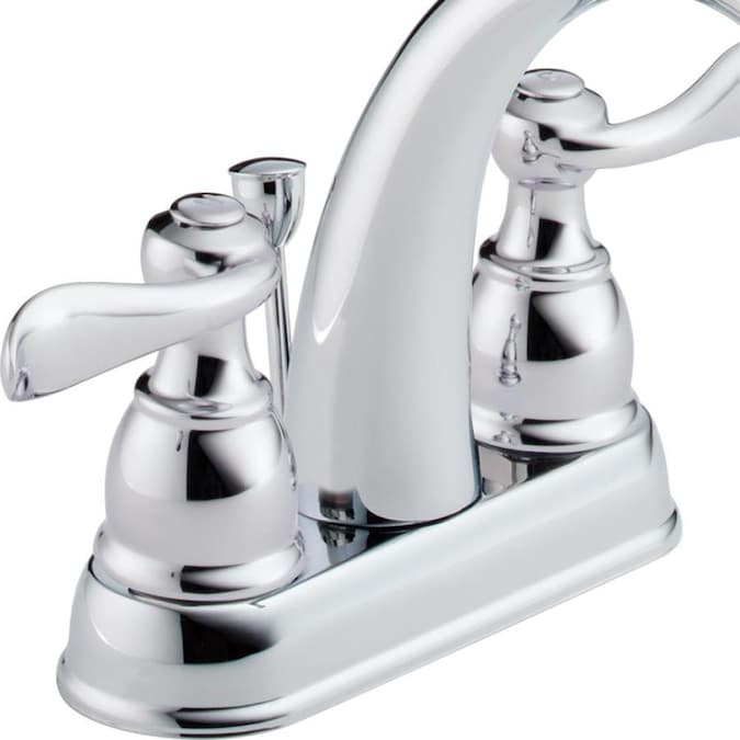 Delta Windemere Chrome 2 Handle 4 In Centerset Watersense Bathroom Sink Faucet With Drain In The Bathroom Sink Faucets Department At Lowes Com