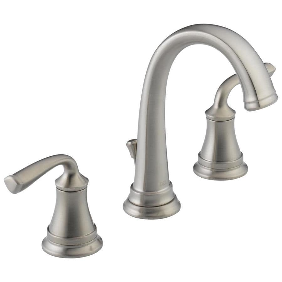Shop delta lorain stainless 2 handle widespread bathroom sink faucet at for Delta widespread bathroom faucet