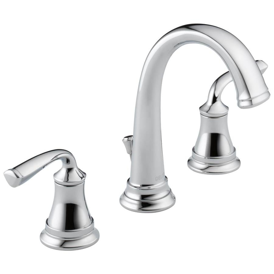 Shop delta lorain chrome 2 handle widespread bathroom sink for Bathroom sink faucets
