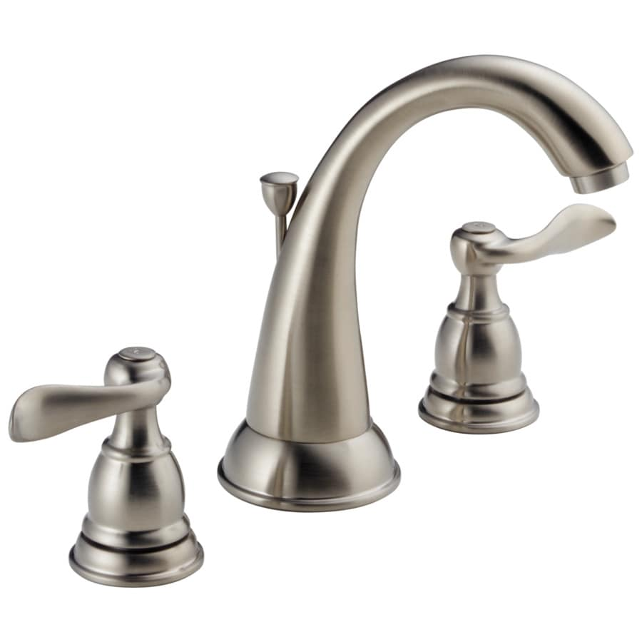 Bathroom Sink Faucets: Delta Windemere Brushed Nickel 2-Handle Widespread WaterSense Bathroom Sink Faucet With Drain At
