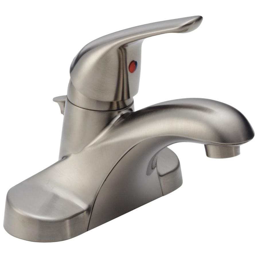 Delta Foundations Stainless 1-Handle 4-in Centerset WaterSense Bathroom Faucet Drain Included