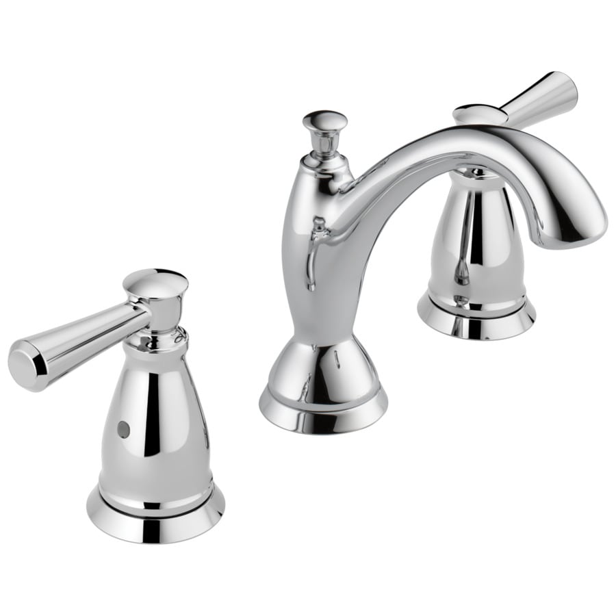 Delta linden chrome 2 handle widespread watersense bathroom sink faucet with drain at for Delta widespread bathroom faucet