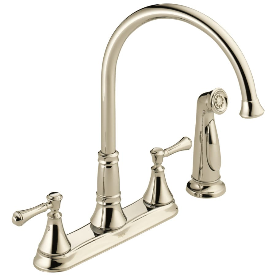 Delta Cassidy Polished Nickel 2-Handle High-Arc Kitchen Faucet with Side Spray
