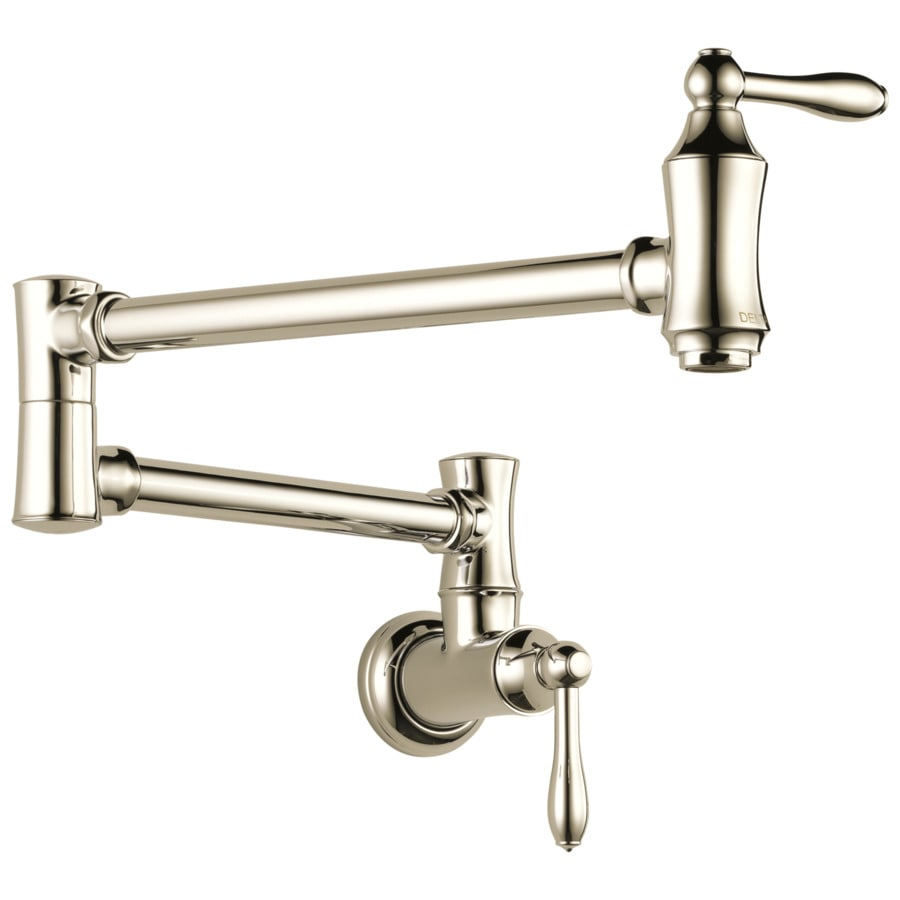 Delta Polished Nickel 2-Handle Wall Mount Pot Filler Kitchen Faucet